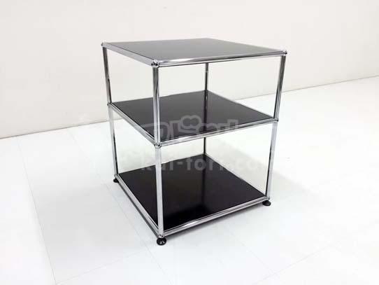 買取金額 10,000円 USM Haller ハラー 1列2段オープン ブラック サイドテーブル