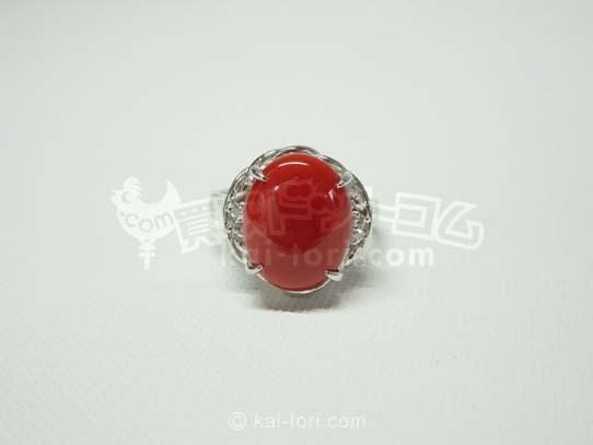 買取金額30,000円 Pt900サンゴダイヤリング 6.5g