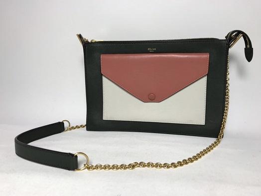 買取金額40,000円 セリーヌ トリコロール カーフスキン チェーンショルダーバッグ 中古美品
