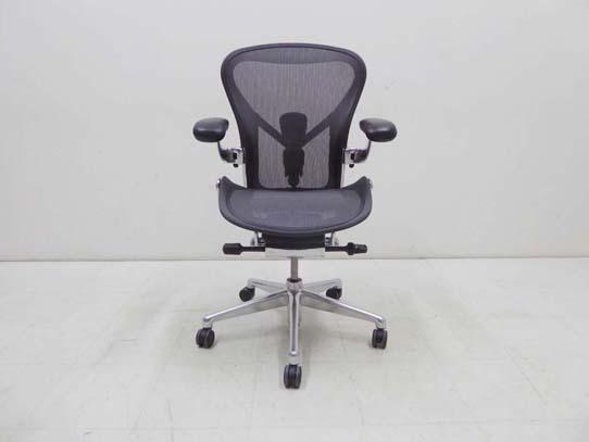 買取金額 120,000円 HermanMiller ハーマンミラー Aeron Chairs Remastered アーロンチェア アルミポリッシュ リマスタード グラファイト ポスチャーフィットSLフル装備 Bサイズ 2019年製