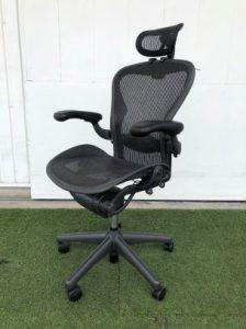 買取金額 30,000円 Herman Miller ハーマンミラー Aeron Chairs アーロンチェア Bサイズ 167888 フル装備 他社製ヘッドレスト付き